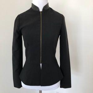 Fitted leather trim zipper detail black blazer XS
